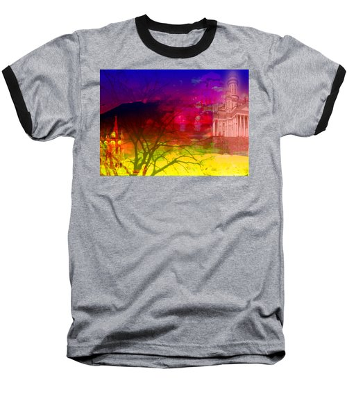 Baseball T-Shirt featuring the digital art Surreal Buildings  by Cathy Anderson