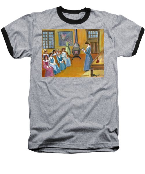 Baseball T-Shirt featuring the painting Susan B. Anthony Teaching In Canajoharie by Betty Pieper