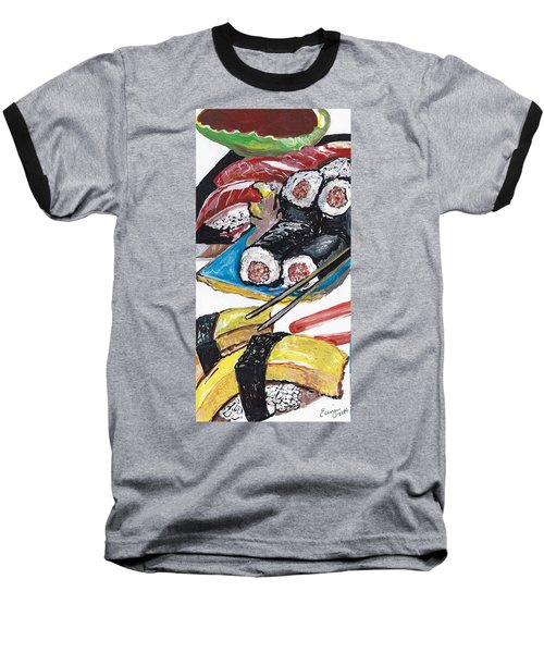 Baseball T-Shirt featuring the painting Sushi Bar Painting by Ecinja Art Works