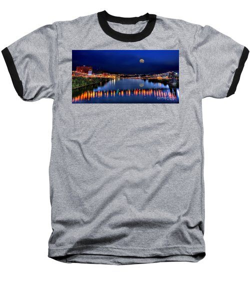 Suspension Bridge Wheeling Wv Panoramic Baseball T-Shirt by Dan Friend