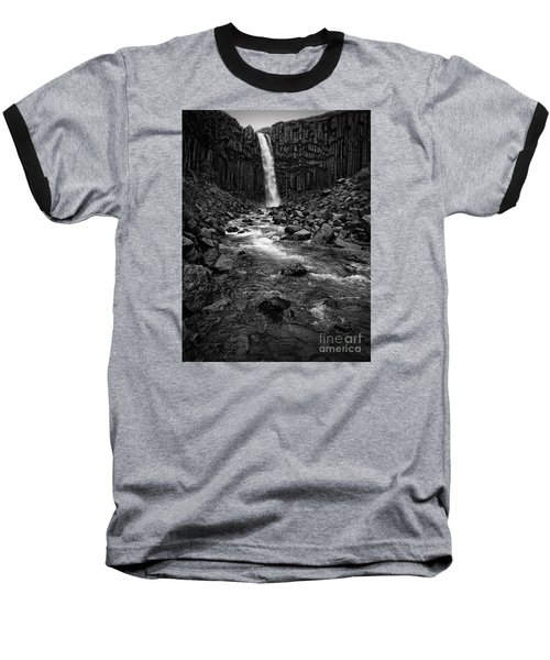 Svartifoss Waterfall In Black And White Baseball T-Shirt