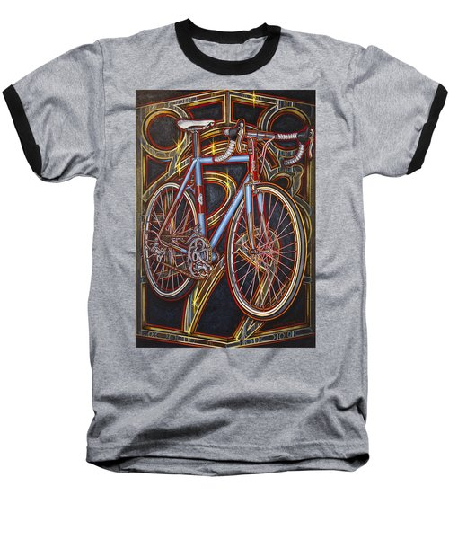 Baseball T-Shirt featuring the painting Swallow Bespoke Bicycle by Mark Howard Jones