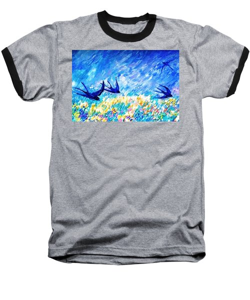Baseball T-Shirt featuring the painting Swallows In Summer by Trudi Doyle