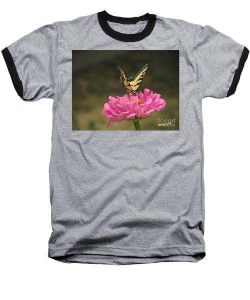 Swallowtail On A Zinnia Baseball T-Shirt by Debby Pueschel