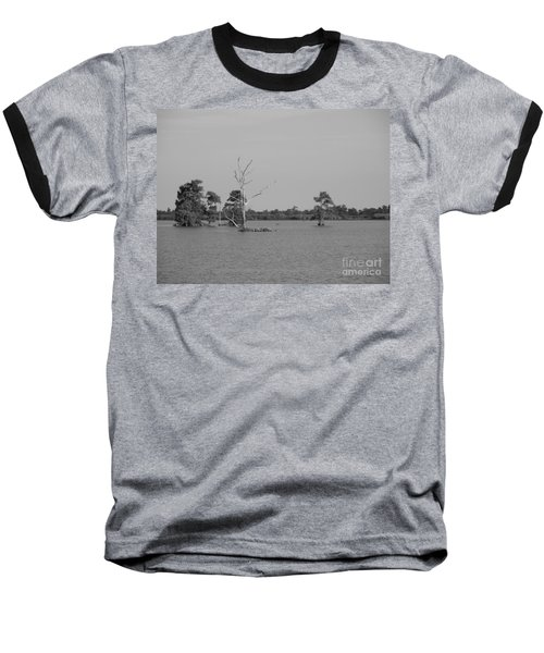 Baseball T-Shirt featuring the photograph Swamp Cypress Trees Black And White by Joseph Baril