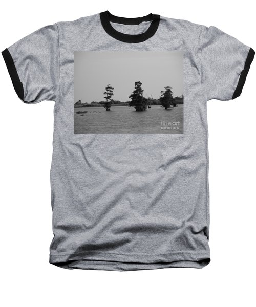 Baseball T-Shirt featuring the photograph Swamp Tall Cypress Trees Black And White by Joseph Baril