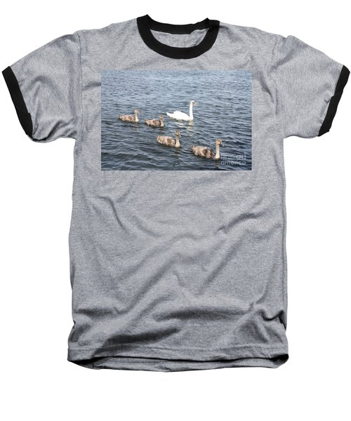 Baseball T-Shirt featuring the photograph Swan And His Ducklings by John Telfer