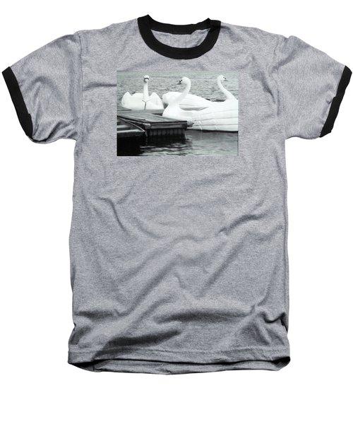 Baseball T-Shirt featuring the photograph White Swan Lake by Belinda Lee