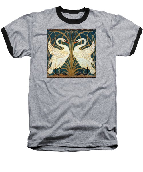 Swan Rush And Iris Baseball T-Shirt by Walter Crane