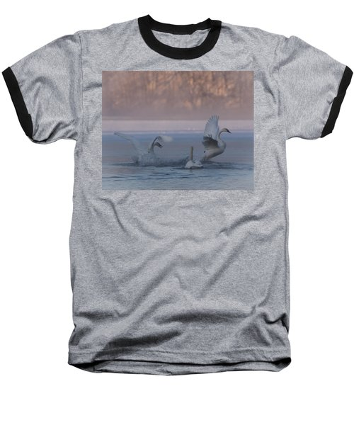 Baseball T-Shirt featuring the photograph Swans Chasing by Patti Deters