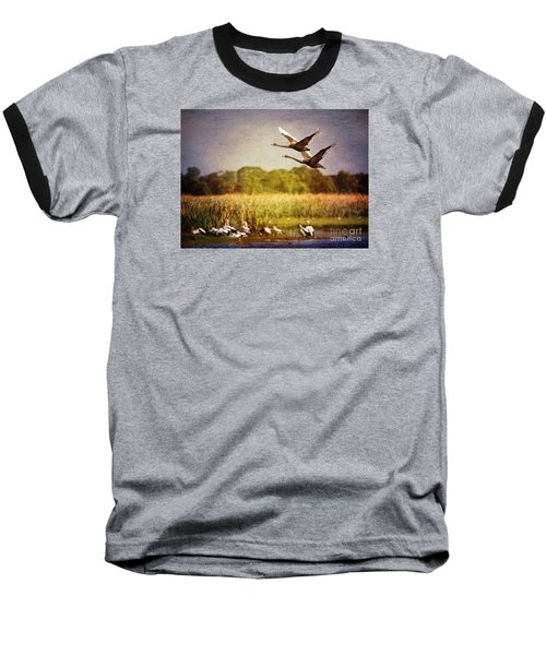 Swans In Flight Baseball T-Shirt