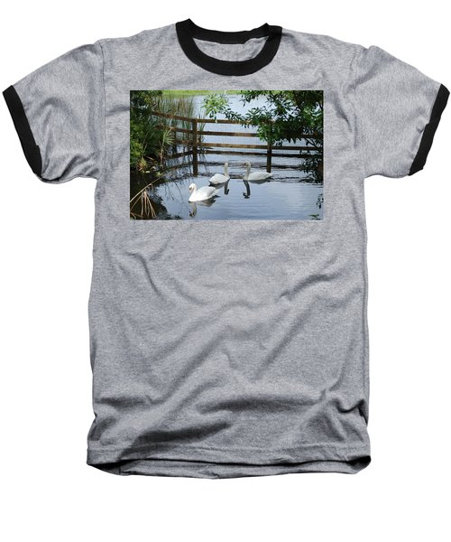 Swans In The Pond Baseball T-Shirt