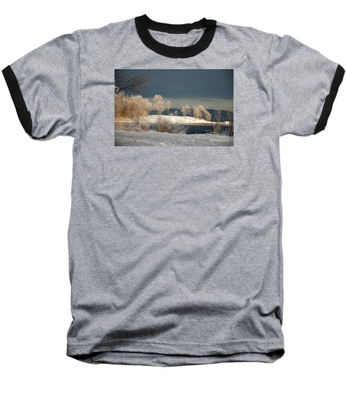 Baseball T-Shirt featuring the photograph Swans On A Frosty Day by Randi Grace Nilsberg