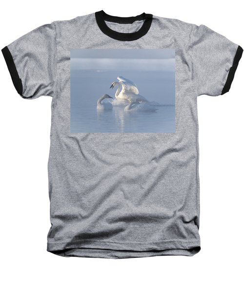 Baseball T-Shirt featuring the photograph Trumpeter Swans - Three's Company by Patti Deters