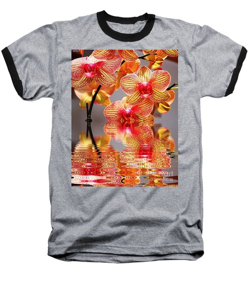 Sweet Orchid Reflection Baseball T-Shirt by Judy Palkimas