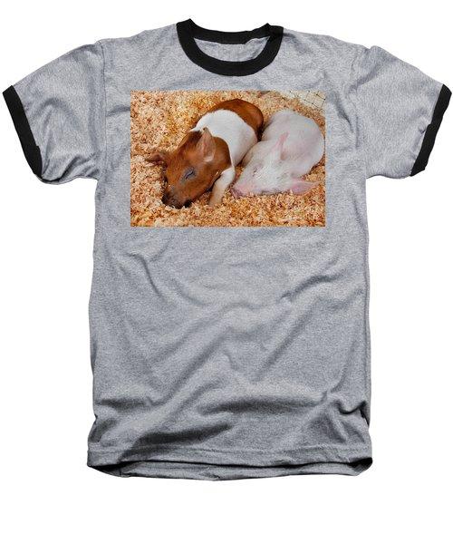 Sweet Piglets Nap Art Prints Baseball T-Shirt by Valerie Garner