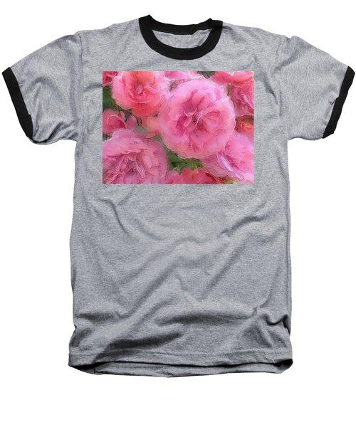 Baseball T-Shirt featuring the mixed media Sweet Pink Roses  by Gabriella Weninger - David
