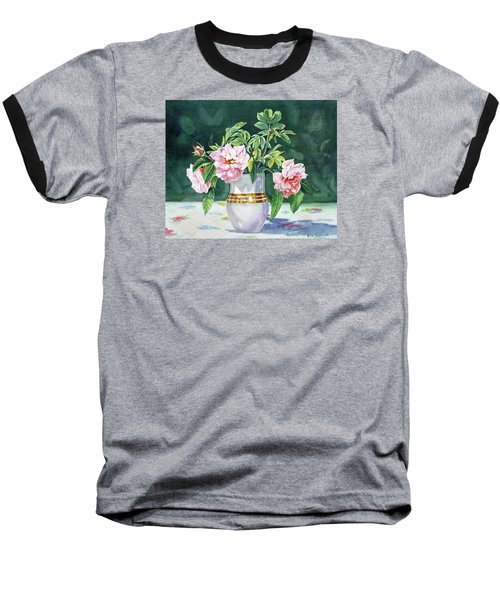 Baseball T-Shirt featuring the painting Sweet Tea Roses Bouquet by Irina Sztukowski