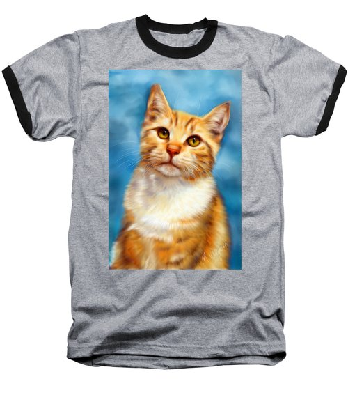 Sweet William Orange Tabby Cat Painting Baseball T-Shirt