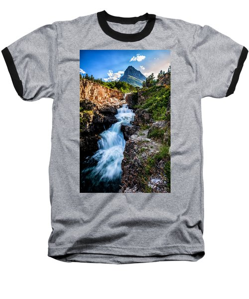 Swiftcurrent Falls Baseball T-Shirt by Aaron Aldrich