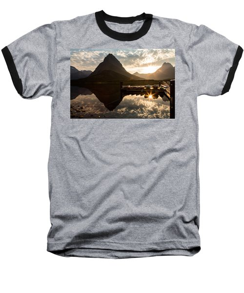 Swiftcurrent Lake Boats Reflection And Flare Baseball T-Shirt