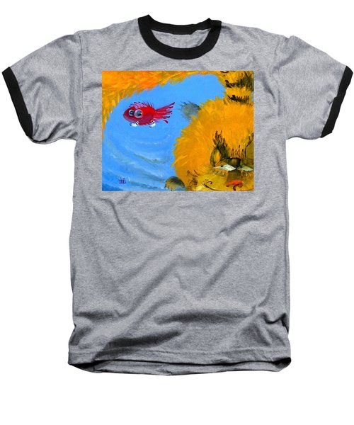 Baseball T-Shirt featuring the painting Swimming Of A Yellow Cat by Marina Gnetetsky