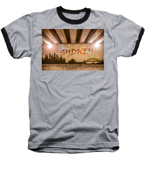 Sydney Graffiti Skyline Baseball T-Shirt by Semmick Photo
