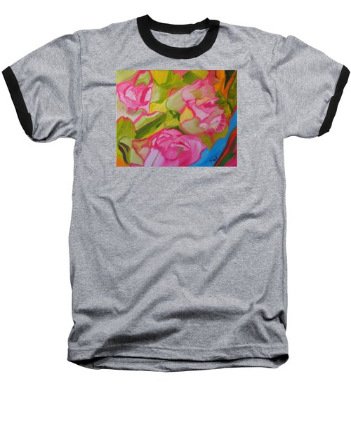 Baseball T-Shirt featuring the painting Symphony Of Roses by Meryl Goudey
