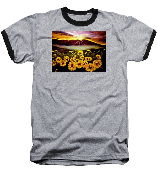 Baseball T-Shirt featuring the painting Symphony Of The Sun.. by Cristina Mihailescu