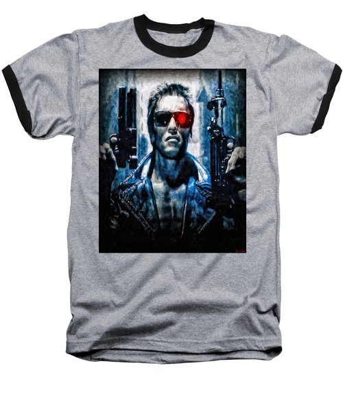T800 Terminator Baseball T-Shirt by Joe Misrasi