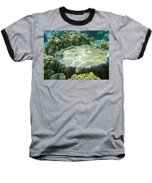 Table Top Coral Baseball T-Shirt by Denise Bird