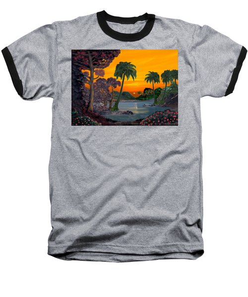 Tahitian Sunset Baseball T-Shirt by Glenn Holbrook