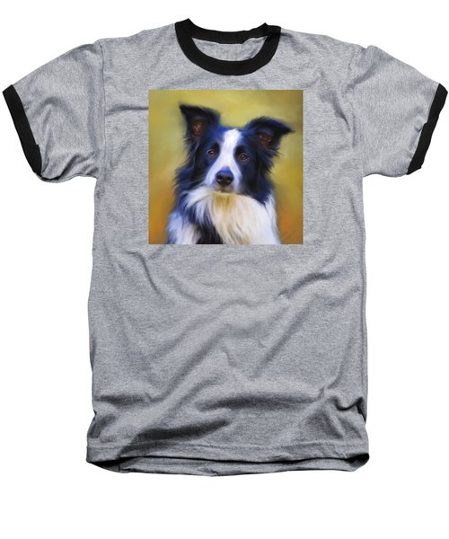 Beautiful Border Collie Portrait Baseball T-Shirt