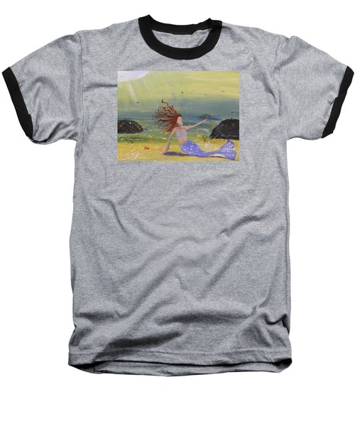 Talking To The Fishes Baseball T-Shirt by Pamela  Meredith