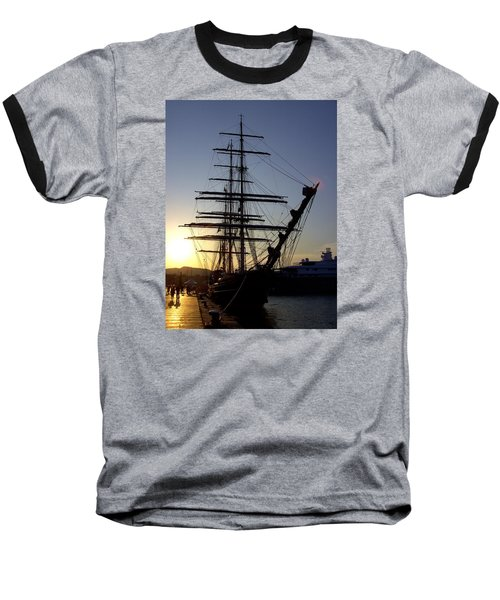 Tall Ship In Ibiza Town Baseball T-Shirt