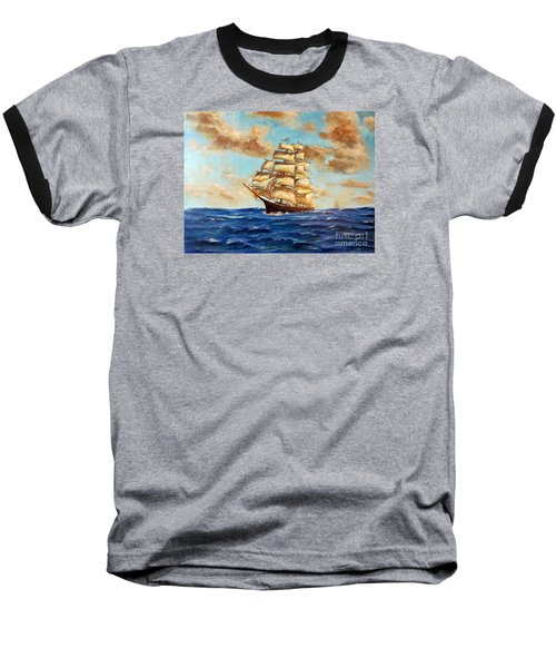 Tall Ship On The South Sea Baseball T-Shirt