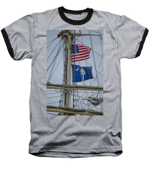 Tall Ships Flags Baseball T-Shirt by Dale Powell