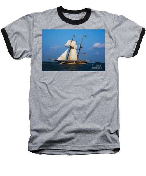 Tall Ships Over Charleston Baseball T-Shirt by Dale Powell