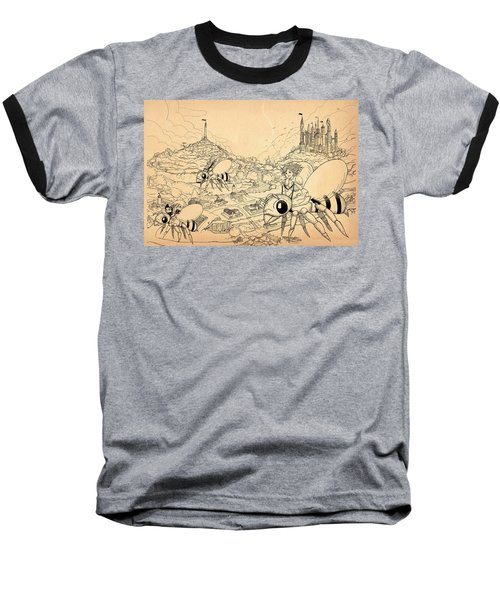 Baseball T-Shirt featuring the drawing Flight Over Capira by Reynold Jay