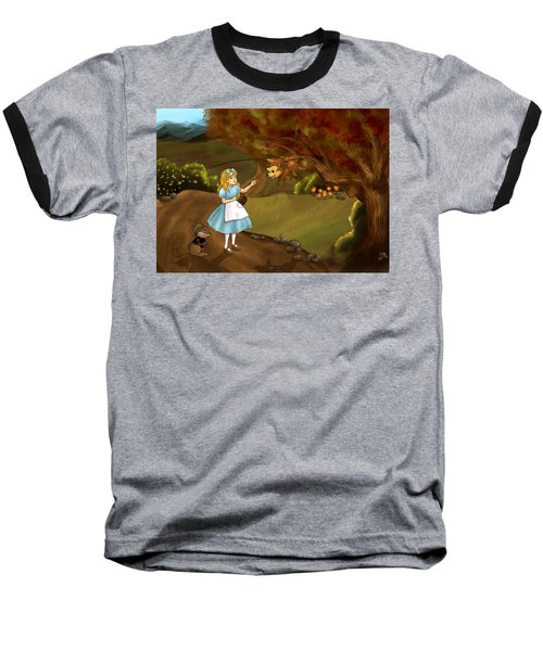 Baseball T-Shirt featuring the painting Tammy Meets Zeke The Opossum by Reynold Jay