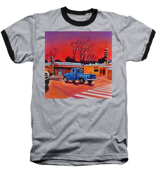 Baseball T-Shirt featuring the painting Taos Blue Truck At Dusk by Art West