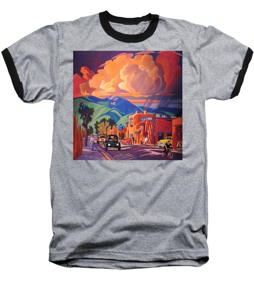 Baseball T-Shirt featuring the painting Taos Inn Monsoon by Art James West