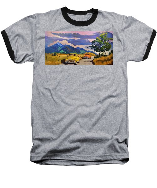 Baseball T-Shirt featuring the painting Taos Joy Ride With Yellow And Orange Trucks by Art West
