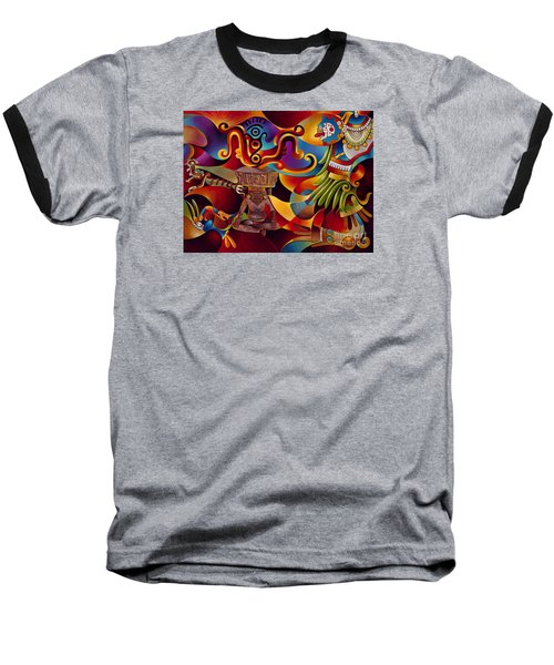 Tapestry Of Gods - Huehueteotl Baseball T-Shirt