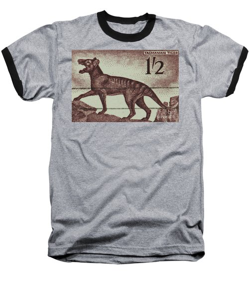 Tasmanian Tiger Vintage Postage Stamp Baseball T-Shirt by Andy Prendy