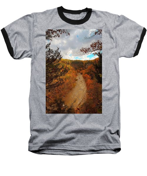 Baseball T-Shirt featuring the painting Taughannock River Canyon In Colorful Fall Ithaca New York IIi by Paul Ge