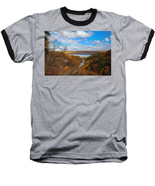 Baseball T-Shirt featuring the painting Taughannock River Canyon In Colorful Fall Ithaca New York Iv by Paul Ge