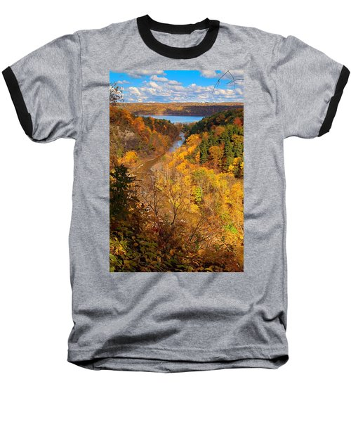 Baseball T-Shirt featuring the photograph Taughannock River Canyon In Colorful Fall Ithaca New York by Paul Ge