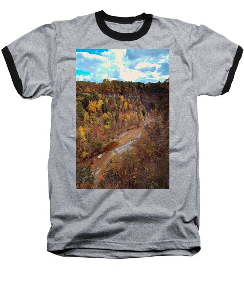 Baseball T-Shirt featuring the painting Taughannock River Canyon In Colorful Fall Ithaca New York V by Paul Ge