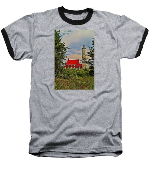 Tawas Point Light Retro Mode Baseball T-Shirt by Daniel Thompson